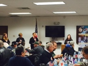 Veterans gather with Red Cross volunteers for Veterans Day Lunch-and-Learn.
